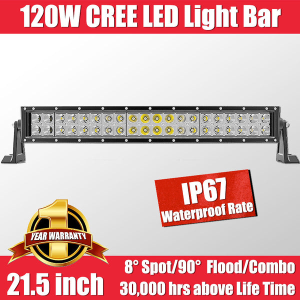 FastFit 120W 21.5 Inch Cree LED Work Light Bar Flood Spot OFFROAD Driving Lamp