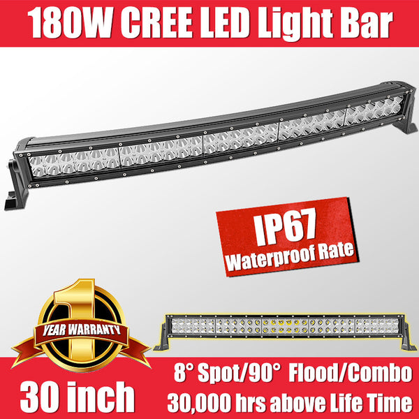FastFit 180W 30 Inch Cree LED Work Light Bar Flood Spot OFFROAD Driving Lamp