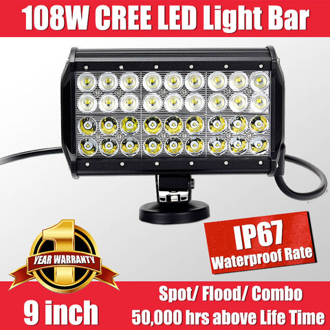 FastFit 108W 9 Inch Cree LED Work Light Bar Flood Spot OFF ROAD Driving Lamp