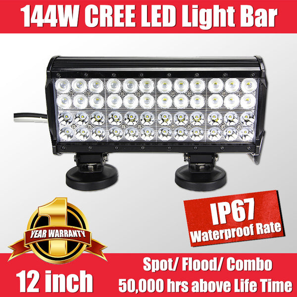 FastFit 144W 12 Inch Cree LED Work Light Bar Flood Spot OFFROAD Driving Lamp