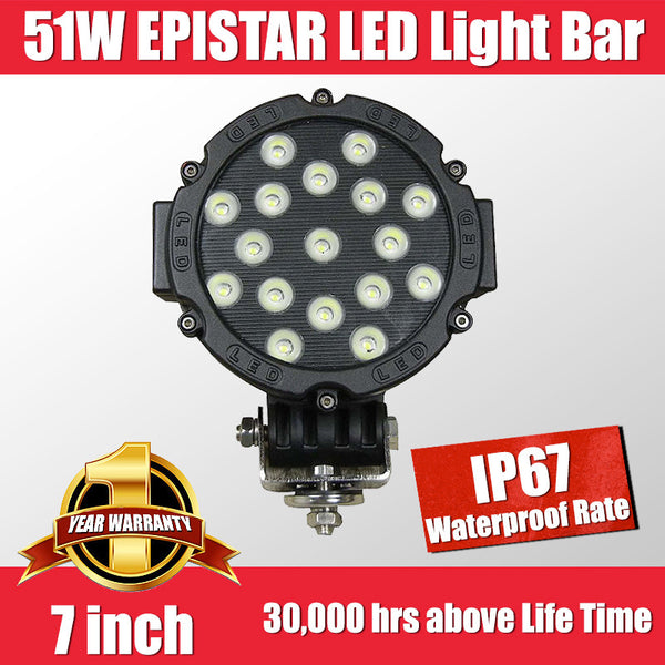 FastFit 51W 7 Inch Cree LED Work Light Bar Flood Spot OFFROAD Driving Lamp