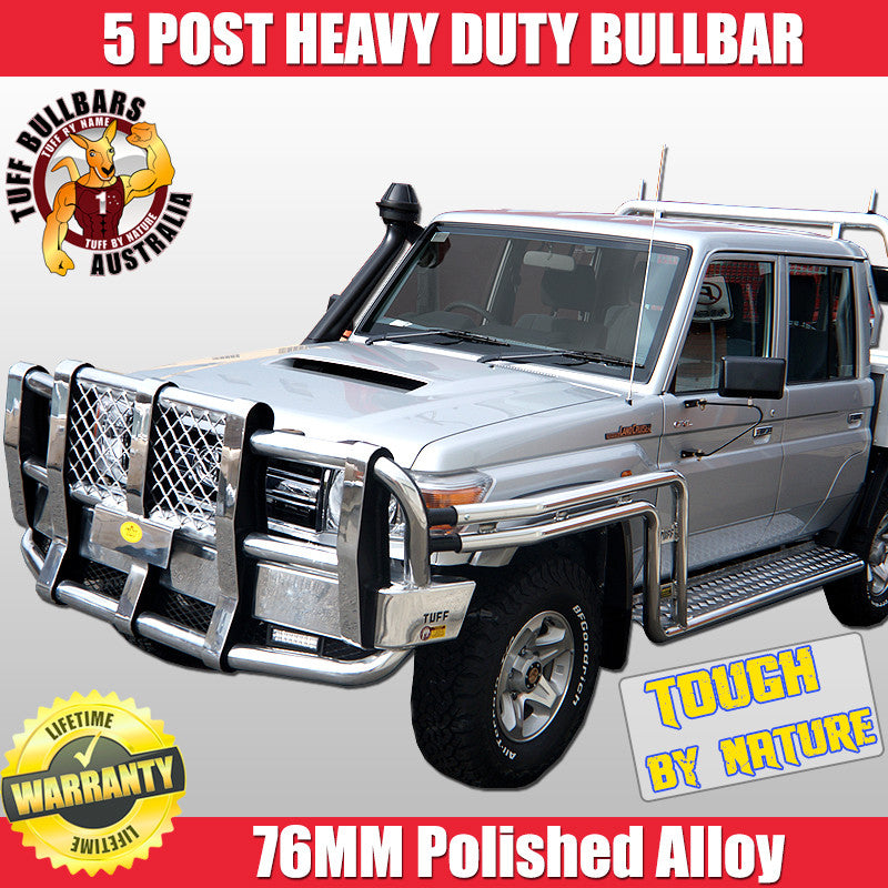 Tuff 5 Post Heavy Duty Polished Alloy Bullbar With Double ...