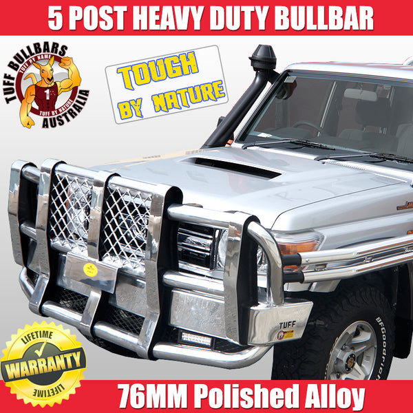 Tuff 5 Post Heavy Duty Polished Alloy Bullbar With Double Rails and Steps To Suit Toyota Land Cruiser 70 Series - 08/2012 ON