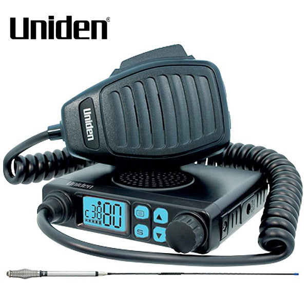 Uniden 5 Watt Mini Compact UHF with Speaker Microphone + Antenna Package