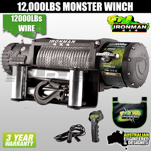 Ironman4x4 12,000LB 12V Electric Monster Winch - Wire