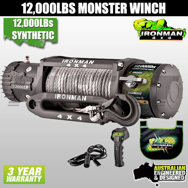 Ironman4x4 12,000LB 12V Electric Monster Winch - Synthetic Rope