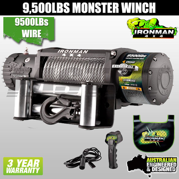 Ironman 4x4 9,500 LB 12V Electric Monster Winch - Wire