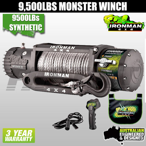 Ironman4x4 9,500LB 12V Electric Monster Winch - Synthetic Rope