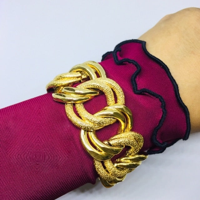 Thick & Wide 24k Gold Plated Bracelet