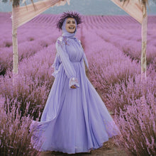 Load image into Gallery viewer, Lavendar Flowy Modern Classy Modest Dress