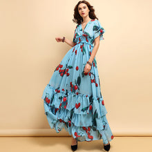 Load image into Gallery viewer, Runway Designer Vintage Elegant Printed Flare Ruffled Dress Plus Size Available