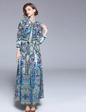 Load image into Gallery viewer, Runway Autumn Animal Fluer Pleated Vintage Long Dress
