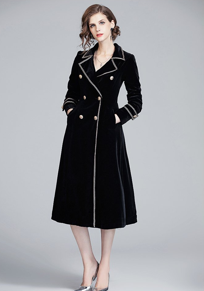 Runway Notched Collar Long Jacket Coat Velvet Black long dress