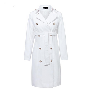 Vintage Double Breasted White Trench Coat Outerwear