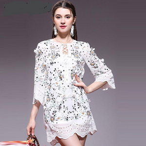 Lace Embroidery Feminine Runway Tunic Midi Dress