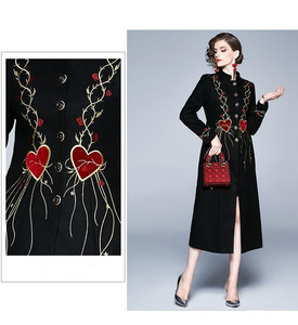 Runway Embroidery Hearts Long Black Outerwear Long Dress