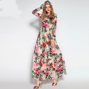 Runway Maxi  Beaded Rose Floral Long Dress With Scarf