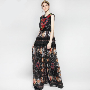 Runway Maxi Elegant Rose  Floral Embroidery Vintage Long Dress Plus Size Available
