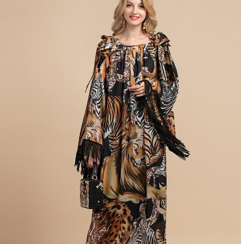 Runway tassels Leopard Print Vintage Long Kaftan Dress Plus Size Available