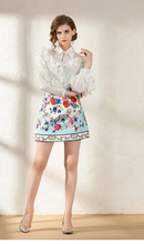 Load image into Gallery viewer, Runway Skirt Suit Beading Ruffles White Blouse + Jacquard Floral Printed Skirts Two Piece Set