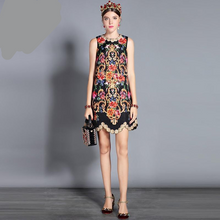 Load image into Gallery viewer, Runway Tank Crystal Beading Floral  Vintage Midi Dress