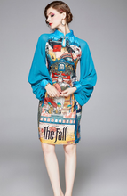 Load image into Gallery viewer, Runway Lantern Sleeve Chiffon Midi Dress