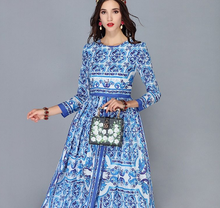 Load image into Gallery viewer, Vintage China Royal Dishware Inspired Long Runway Modest Dress Plus Size Available