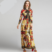 Load image into Gallery viewer, Runway Maxi Gorgeous Floral Plaid Vintage Long Dress