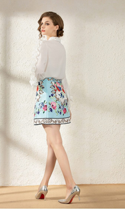 Runway Skirt Suit Beading Ruffles White Blouse + Jacquard Floral Printed Skirts Two Piece Set