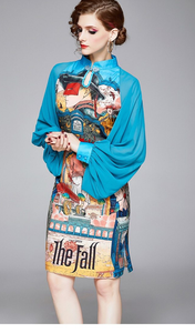 Runway Lantern Sleeve Chiffon Midi Dress