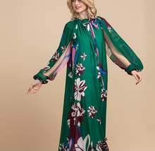 Load image into Gallery viewer, Designer Split Sleeve Floral Vintage Long Dress Plus Size Available