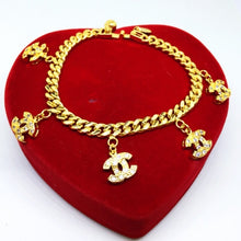 Load image into Gallery viewer, 24k gold plated Charm Chanel Inspired Bracelet