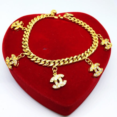 24k gold plated Charm Chanel Inspired Bracelet