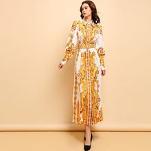 Load image into Gallery viewer, Runway Vintage Gold Royal Modest Long Dress