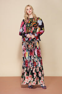 Off the Runway Classy Floral Print Flowy Modest Modern Long Dress Plus Size Available