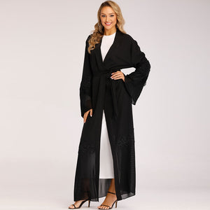Lace Cardigan Outerwear Abaya Arabic Design