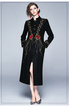 Load image into Gallery viewer, Runway Embroidery Hearts Long Black Outerwear Long Dress