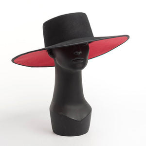 Classical High Grade Couture WIDE BRIM SPLICE TWO TONE WOOL FEDORA Dress Hat