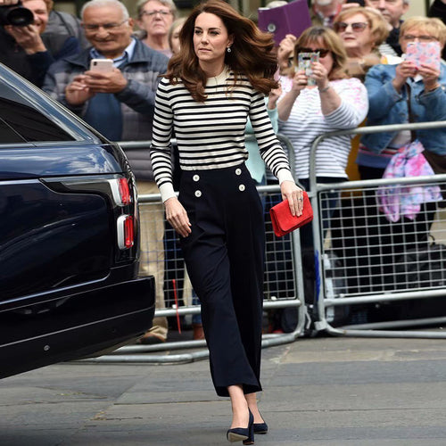 Kate Middleton Striped Sweater Loose Black Pantsuit