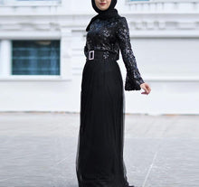 Load image into Gallery viewer, Adrilla Sequined Modern Modest Dress Tulle