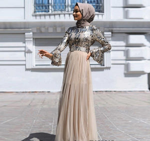 Adrilla Sequined Modern Modest Dress Tulle