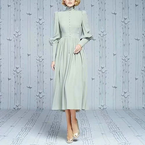 Kate Middleton Aqua Green Victorian Midi Dress