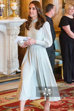 Load image into Gallery viewer, Kate Middleton Aqua Green Victorian Midi Dress