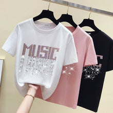 Load image into Gallery viewer, Glitter Music Dangling Rhinestones Tshirt