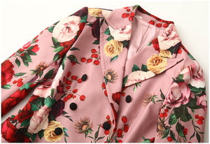 Runway Woolen  Double-breasted Vintage Floral outwear