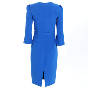 Kate Middleton Vintage Elegant Blue Pencil Midi Dress