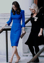 Load image into Gallery viewer, Kate Middleton Vintage Elegant Blue Pencil Midi Dress