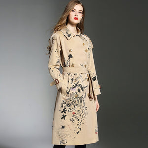 Luxury Haute Couture Printed Trench Coat Outerwear