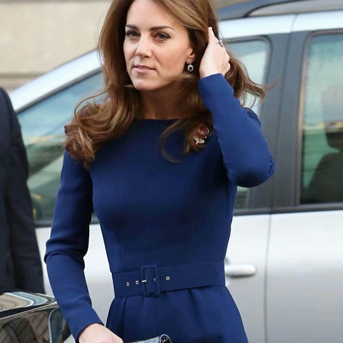 Kate Middleton Temperament Blue Banquet Midi Dress