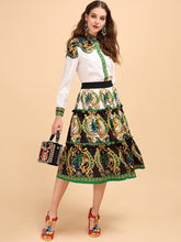 Load image into Gallery viewer, Runway White Shirt + Vintage Midi Skirt Stylish 2 Pieces Set